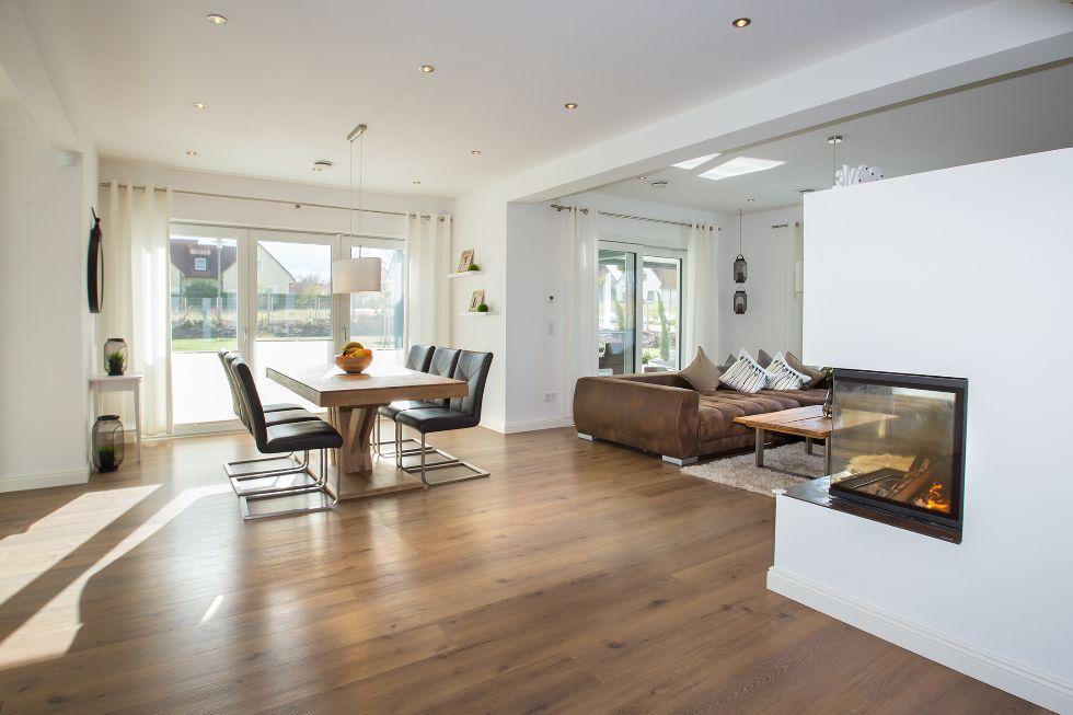 Wohnbereich Mit Einem Integriertem Ofen Fischerhaus Fertighäuser